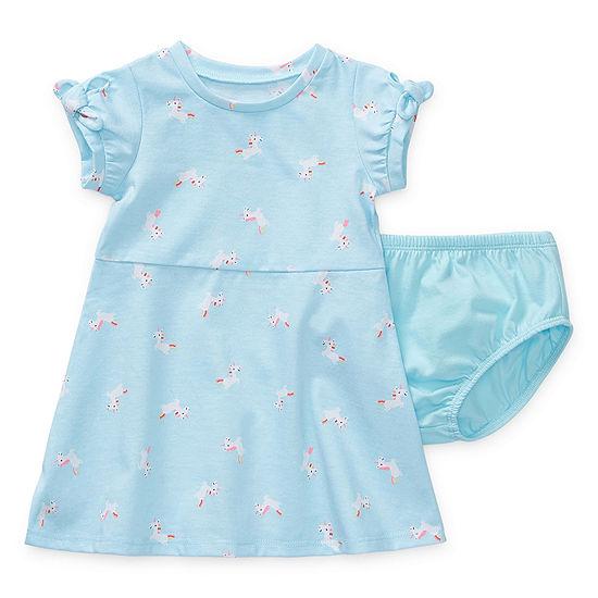 Okie Dokie Girls Short Sleeve Cuffed Sleeve Babydoll Dress - Baby