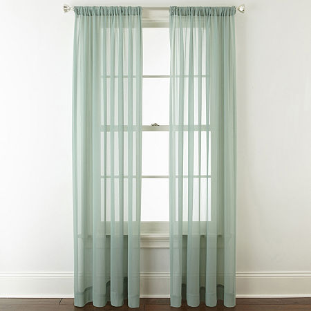 JCPenney Home Tori Sheer Sheer Rod-Pocket Single Curtain Panel, One Size , Green