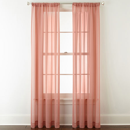 JCPenney Home Tori Sheer Sheer Rod-Pocket Single Curtain Panel, One Size , Pink
