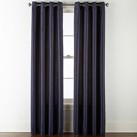 JCPenney Home Westfield Light-Filtering Grommet-Top Single Curtain Panel, One Size , Blue