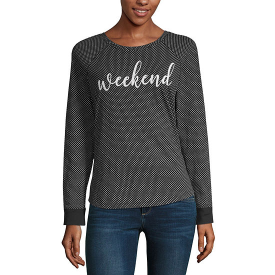 Liz Claiborne Weekend Round Neck Long Sleeve T-Shirt - Womens