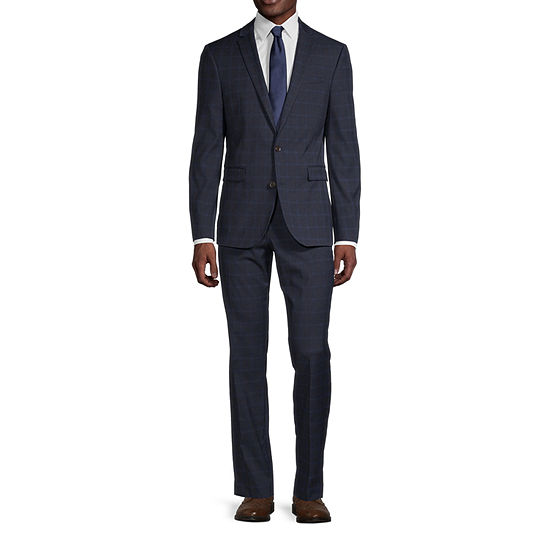 JF J. Ferrar Ultra Blue Windowpane Slim Fit Suit Separates