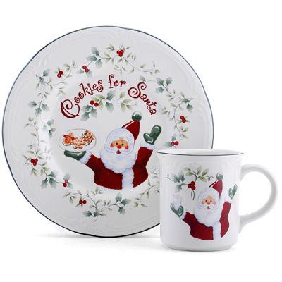 Pfaltzgraff® Winterberry 2-pc. Cookies and Milk for Santa Set
