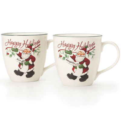 Pfaltzgraff® Winterberry Set of 2 Naughty and Nice Porcelain Mugs
