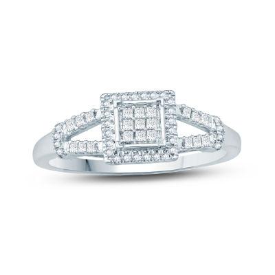 1/4 CT. T.W. White Diamond 10K Gold Cluster Ring