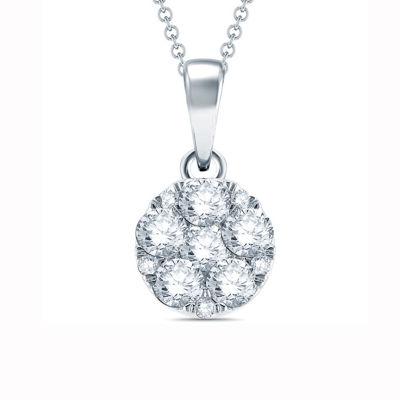 1/4 CT. T.W. White Diamond 10K Gold Pendant Necklace