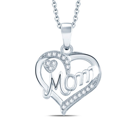 Womens Diamond Accent Genuine White Diamond 10K Gold Heart Pendant Necklace