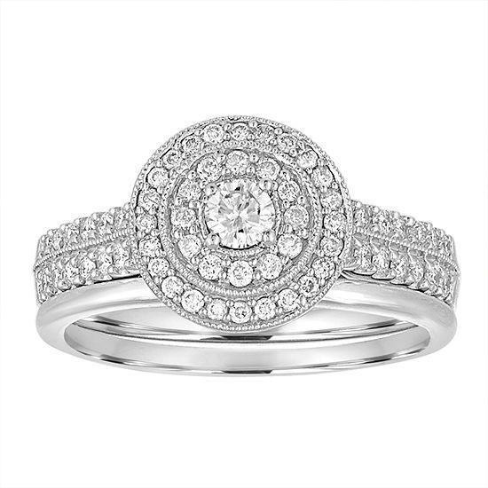 1 2 Ct Tw White Diamond 10k Gold Bridal Set