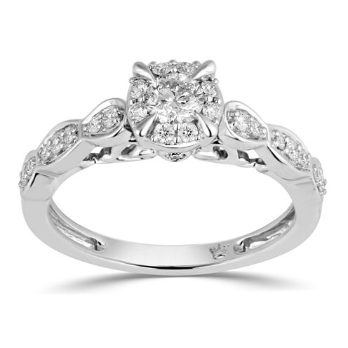 Hallmark Bridal Womens 1/2 CT. T.W. Genuine Round White 10K Gold Engagement Ring