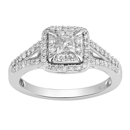 Hallmark Bridal Womens 3/4 CT. T.W. Genuine Princess White Diamond 10K Gold Engagement Ring
