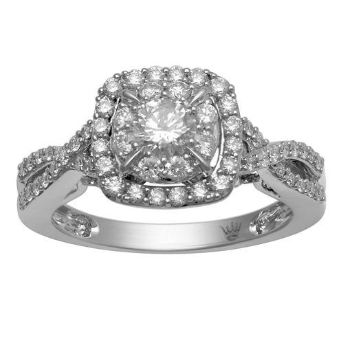 Hallmark Bridal Womens 1 CT. T.W. Genuine Round White Diamond 10K Gold Engagement Ring