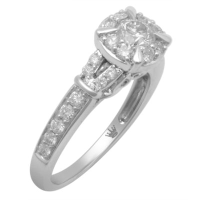 Hallmark Bridal Womens 1 CT. T.W. Genuine Round White Diamond 10K Gold Engagement Ring