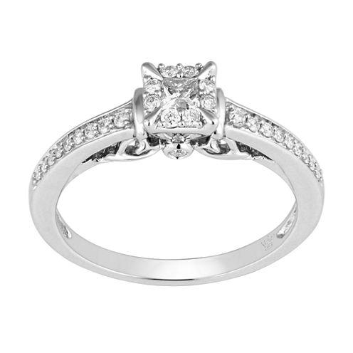 Hallmark Bridal Womens 1/3 CT. T.W. Genuine Princess White Diamond 10K Gold Engagement Ring