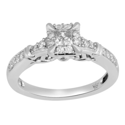 Hallmark Bridal Womens 1/2 CT. T.W. Genuine Princess White Diamond 10K Gold Engagement Ring