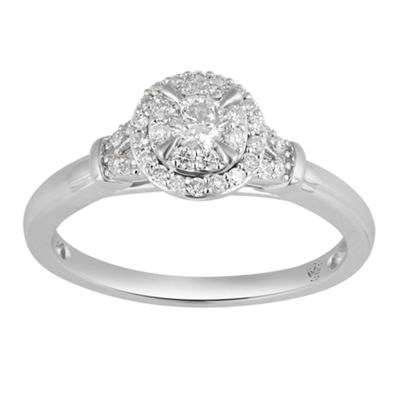 Hallmark Bridal Womens 1/3 CT. T.W. Genuine White Diamond 10K Gold Engagement Ring
