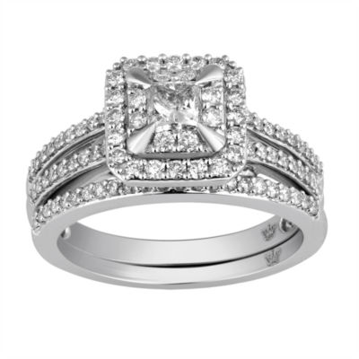Hallmark Bridal Womens 1 CT. T.W. Genuine White Diamond 10K Gold Bridal Set