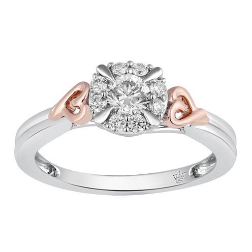 Hallmark Bridal Womens 1/2 CT. T.W. Genuine Round White Diamond 10K Gold Engagement Ring