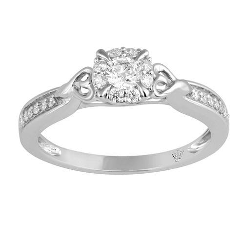 Hallmark Bridal Womens 1/3 CT. T.W. Genuine Round White Diamond 10K Gold Engagement Ring