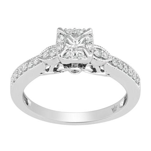 Hallmark Bridal Womens 1/2 CT. T.W. Genuine Princess White Diamond 10K Gold Engagement Ring