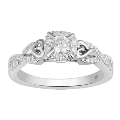 Hallmark Bridal Womens 1/2 CT. T.W. Genuine White Diamond 10K Gold Engagement Ring