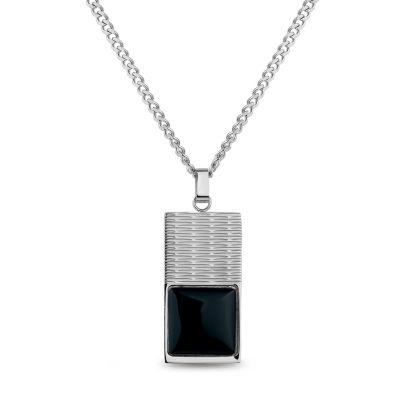 Mens Black Onyx Dog Tag Pendant Necklace