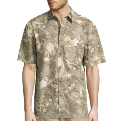 Island Shores Short Sleeve Printed Cotton Button-Front Shirt