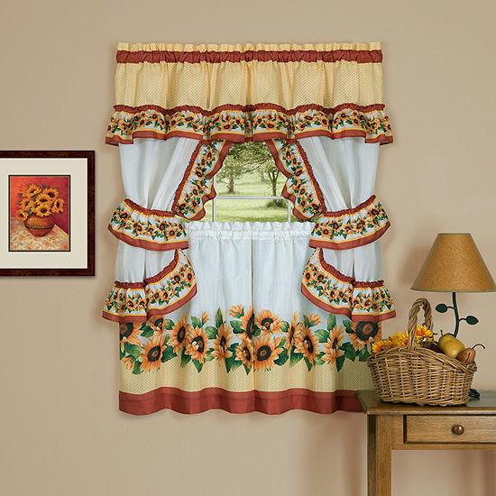 Black Eyed Susan 3-pc. Rod-Pocket Kitchen Curtain Set