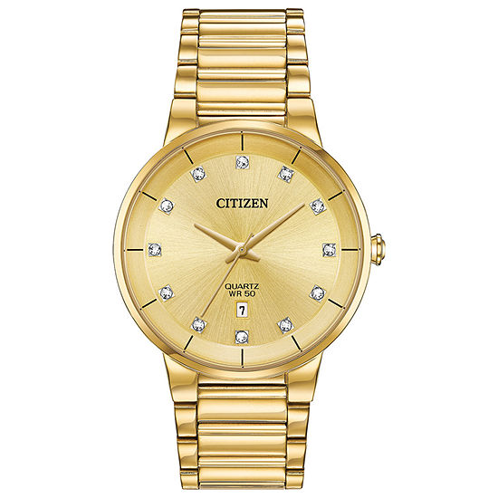 Citizen Mens Crystal Accent Gold Tone Stainless Steel Bracelet Watch - Bi5012-53q