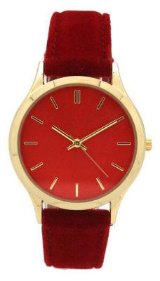 Olivia Pratt Velvet Womens Red Strap Watch-17459red