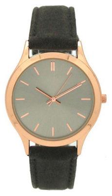 Olivia Pratt Velvet Womens Gray Strap Watch-17459grey/Rose