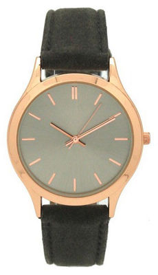 Olivia Pratt Velvet Womens Gray Strap Watch-17459grey/Rose