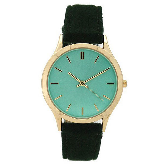 Olivia Pratt Velvet Womens Green Strap Watch-17459green