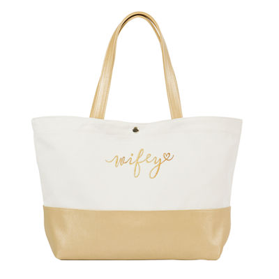 Cathy's Concepts Wifey Metallic Color Dipped Tote Bag