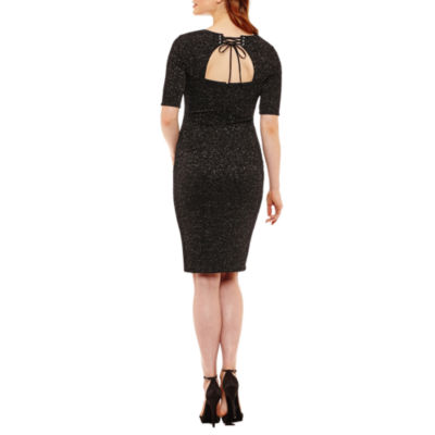 Bisou Bisou Elbow Sleeve Glitter Bodycon Dress