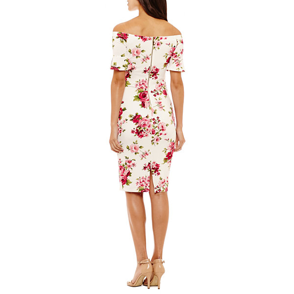 Bisou Bisou Off the Shoulder Floral Sheath Dress