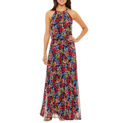 Rebecca B Sleeveless Floral Maxi Dress