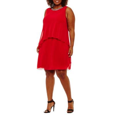 Scarlett Sleeveless Beaded Party Dress-Plus