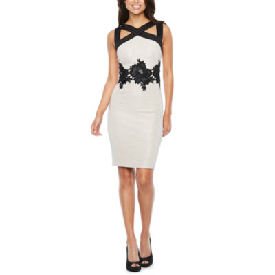 Melrose Sleeveless Applique Sheath Dress