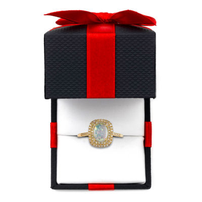 Womens 10K Gold Lab-Created Opal & 3/4 CT. T.W. Diamond Cocktail Ring