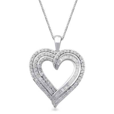 Womens 1 CT. T.W. Genuine White Diamond 10K White Gold Heart Pendant Necklace