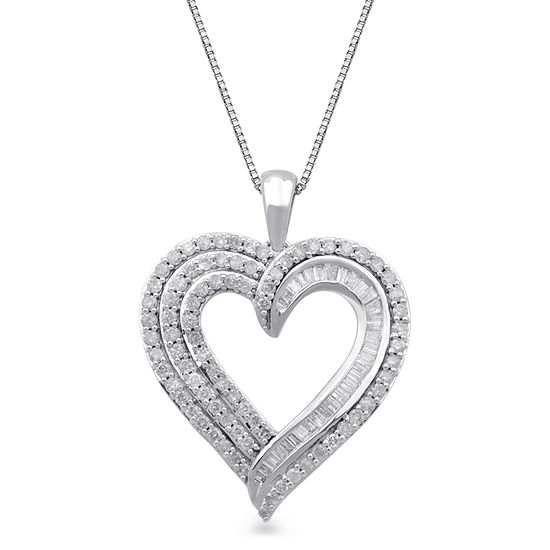 Womens 1 CT. T.W. Genuine White Diamond 10K White Gold Heart Pendant Necklace