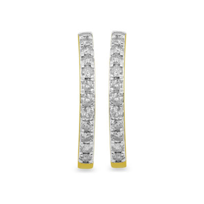 1 CT. T.W. GENUINE White Diamond 10K GOLD 22.6mm Hoop Earrings