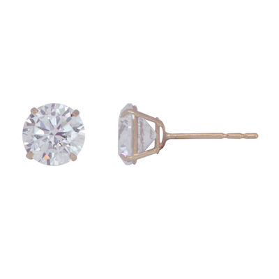 White Cubic Zirconia 10K Gold 6mm Stud Earrings