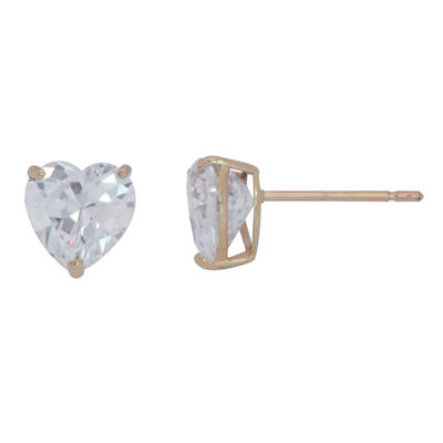 Heart Cubic Zirconia 10K Gold Stud Earrings