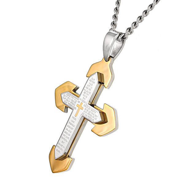 Mens Lord's Prayer Stainless Steel Cross Pendant Necklace