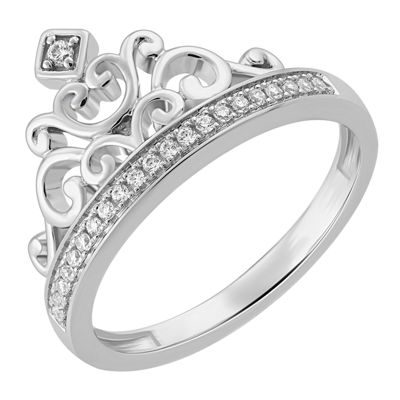 Enchanted Disney Fine Jewelry Womens 1/10 CT. T.W. White Diamond Sterling Silver Cocktail Ring