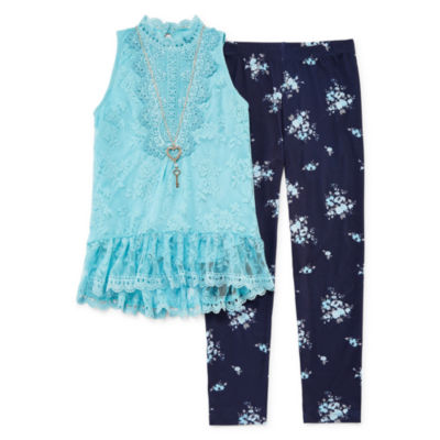 Knit Works Victorian Lace Top Legging Set with Necklace - Girls' 4-16 & Plus
