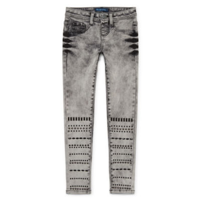 Squeeze Grey Extreme Wash Geo Bling Skinny Jean - Big Girls