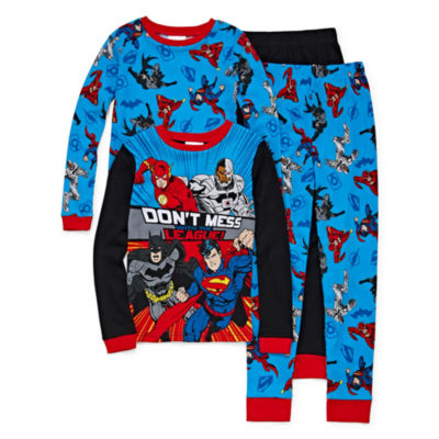 Justice League 4 Piece Cotton Pajama Set - Boys 4-20