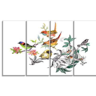 Design Art Tropical Flowers And Birds Canvas Art Print - 4 Panels